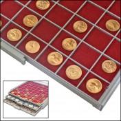 """Czerwona wkładka do szuflady  """"Beba Maxi"""" - na 64 monety do 33,6 mm średnicy"""
