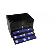 Szkatuła - zestaw 3 szuflad czarny lakierowany (pusta, bez szuflad)